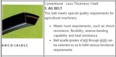 3 Jenis V belt Mesin Pertanian