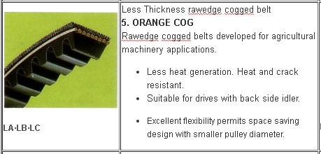 5 Jenis V belt Mesin Pertanian