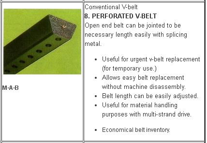 8 Jenis V belt Mesin Pertanian
